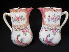 207: TWO ANTIQUE MINTONS SYRUP OR CREAM PITCHERS