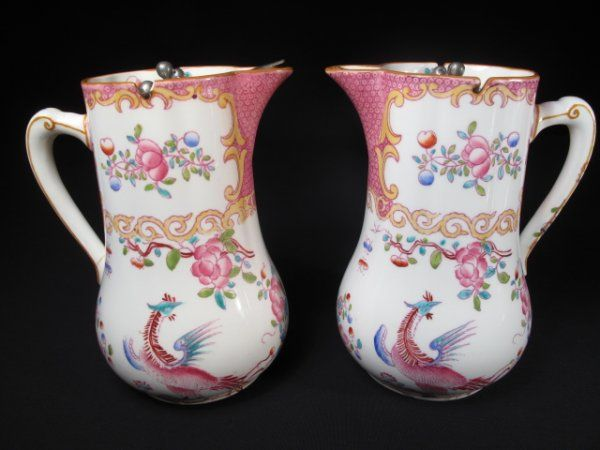 TWO ANTIQUE MINTONS SYRUP OR CREAM PITCHERS