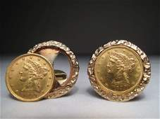 278: PAIR OF SOLID GOLD COIN CUFF LINKS