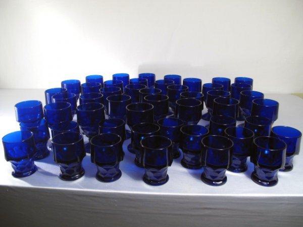 1: 49 COBALT BLUE GLASS GOBLETS ART DECO STYLE