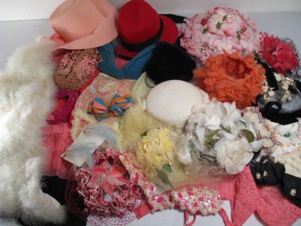 22: LADIES VINTAGE HATS BOXES HAIR GRIPS LINGERIE