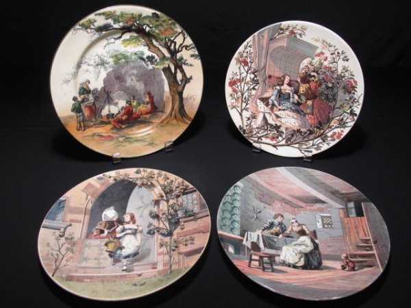 24: THREE SARRAGUEMINES FRENCH PLATES & ONE DOULTON