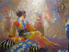 226 KEITH LINDBERG OIL ON CANVAS RECLINING LADY SIGNED