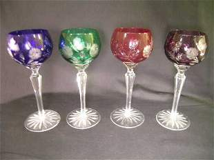 VINTAGE CUT TO CLEAR WINE STEMS ASSORTED 4 PCS