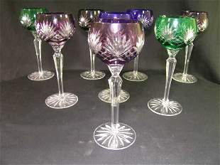VINTAGE CUT TO CLEAR WINE STEMS ASSORTED 8 PCS