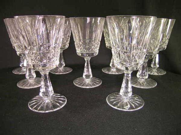 10: WATERFORD CUT GLASS CRYSTAL WINE STEMS 9 PCS SMALL