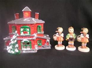 HUMMEL STYLE FIGURINES SCHMID CHRISTMAS HOUSE 4 PCS