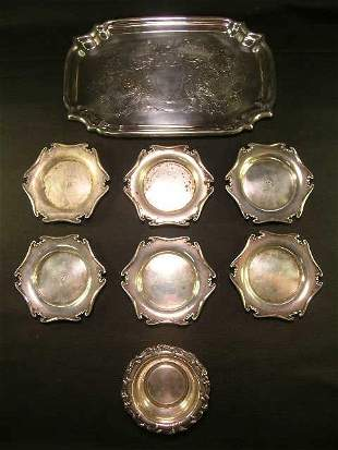 GROUP SILVER PLATE AND STERLING SILVER ASST 8 PCS
