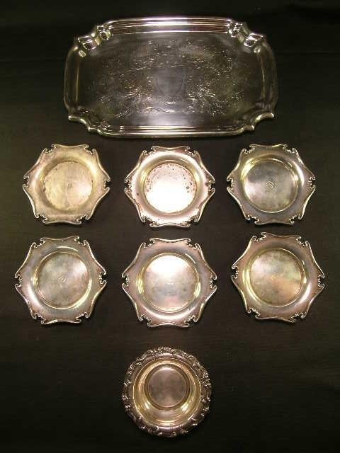 17: GROUP SILVER PLATE AND STERLING SILVER ASST 8 PCS