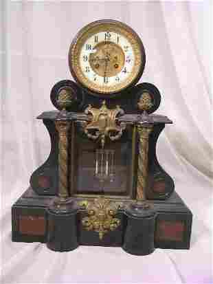 ANTIQUE FRENCH MARBLE BRONZE VIGNERON MANTLE CLOCK