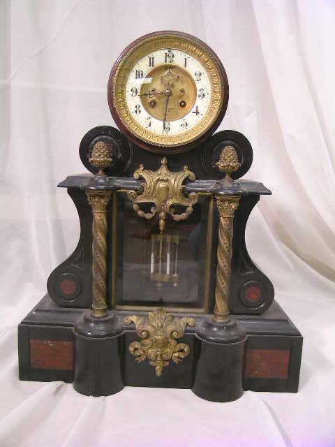 20: ANTIQUE FRENCH MARBLE BRONZE VIGNERON MANTLE CLOCK