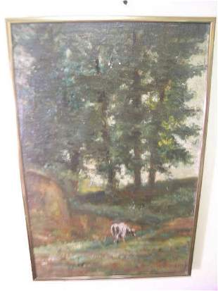 OIL ON CANVAS PAINTING COWS PASTURE BOURGIER