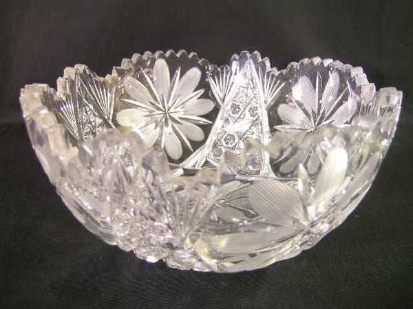 25: BRILLIANT CUT GLASS CRYSTAL FLORAL  BOWL