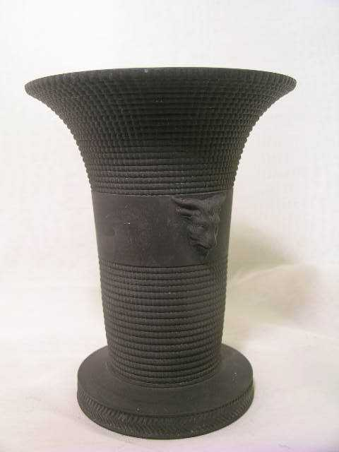 55 Antique Wedgwood Black Jasper Vase Rams Head