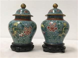PAIR JAPANESE MEIJI PERIOD CLOISONNE GINGER JARS