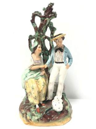 EARLY 19TH C ENGLISH STAFFORDSHIRE PORCELAIN FIGURE