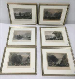 SIX ANTIQUE W.H. BARTLETT HAND COLORED ENGRAVINGS