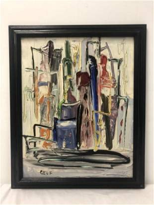 ABSTRACT IMPASTO PAINTING ON BOARD SIGNED GELF