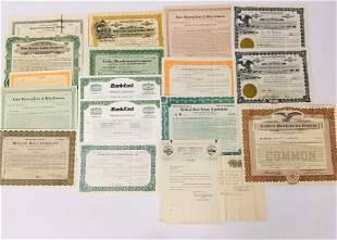 EIGHTEEN EARLY-LATE 20TH C STOCK CERTIFICATES