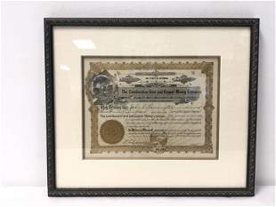 ANTIQUE GOLD MINING STOCK CERTIFICATE 1908 WYOMING