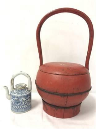 CHINESE WOOD BOX & MINI STRAITS PORCELAIN TEAPOT