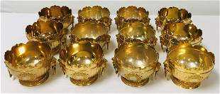 CORBELL & CO GOLD PLATED MONTEITH STYLE BOWLS 12 P