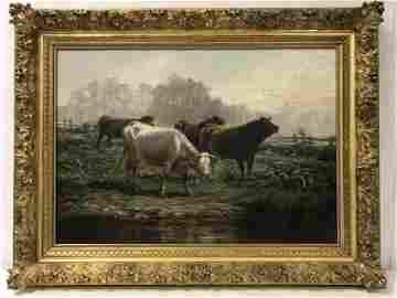 JAMES DESVARREUX-LARPENTEUR OIL ON CANVAS: COWS