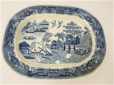 STAFFORDSHIRE BLUE WILLOW IRONSTONE PLATTER