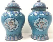 PAIR CHINESE CLOISONNE DRAGON GINGER JARS / URNS