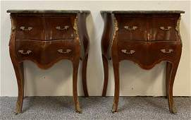 PAIR ITALIAN BURLED WOOD MARBLE TOP BOMBE CHESTS