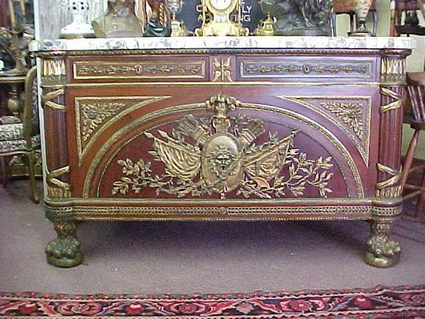 110: FRENCH CLASSICAL MARBLE TOP CREDENZA Thi