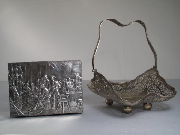 105: TWO VINTAGE SILVER PLATE ITEMS BOX & BREAD BASKET