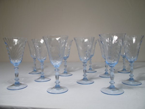 111: ELEVEN ELECTRIC BLUE GLASS STEMMED WINE GLASSES