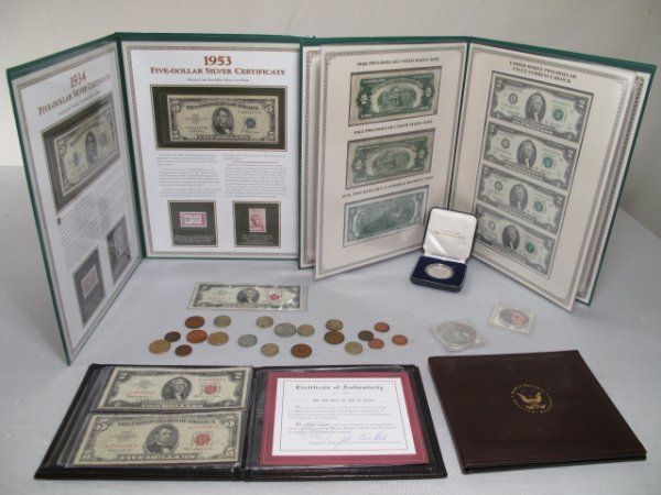 118: MIXED LOT BANK NOTES SILVER CERTIFICATES & MEDALS