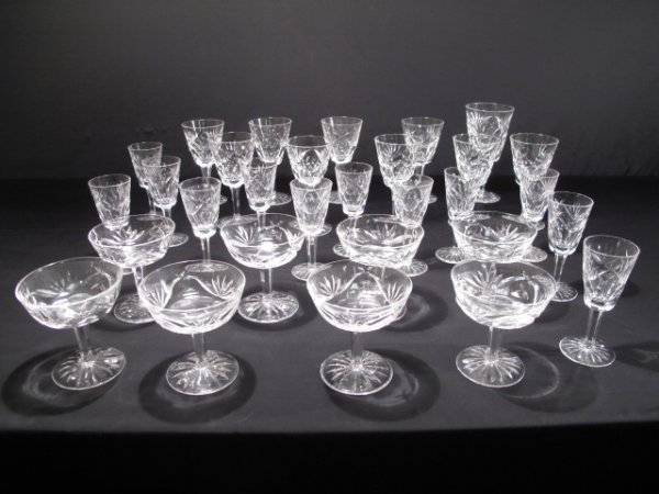 123: THIRTY SIGNED WATERFORD IRISH CRYSTAL GLASSES