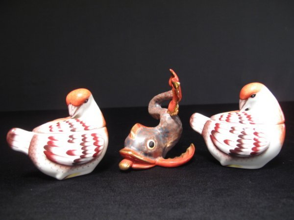 124: HEREND PORCELAIN MINIATURES TWO BIRDS & A DOLPHIN