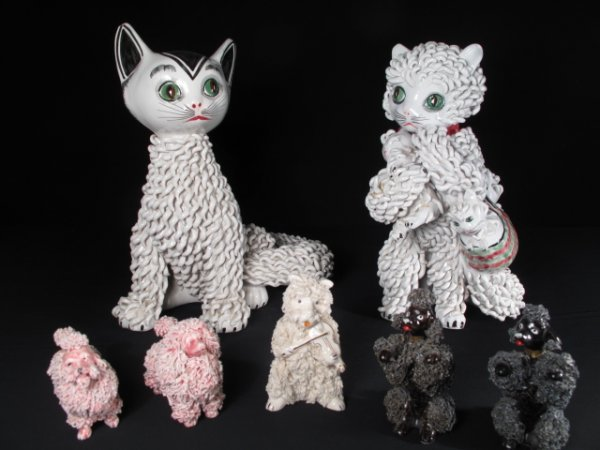 1: CURLY CERAMIC ANIMAL FIGURINES POODLES AND CATS 7pc