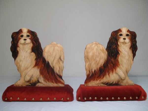 3: TWO AMOS SHONTZ HAND PAINTED DOGS FIRE GUARDS