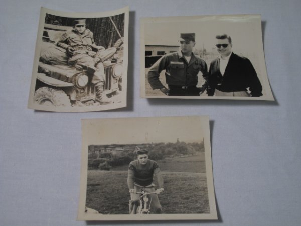 16: THREE ORIGINAL PHOTOGRAPHS OF ELVIS PRESLEY ARMY