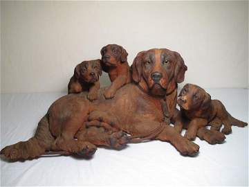 175: IMPORTANT BLACK FOREST WOOD CARVING DOG & 3 PUPS