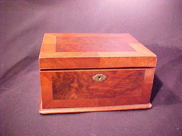 "391: OLD MAHOGANY INLAY TRINKET BOX 9"" wide b"
