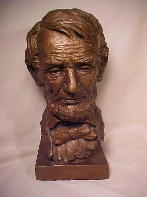 """392: VINTAGE  BUST ABE LINCOLN 10"""" high by 4"""