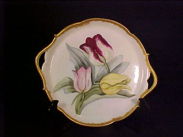 393: FRENCH HAND PAINTED GILT RIMMED PLATE 10