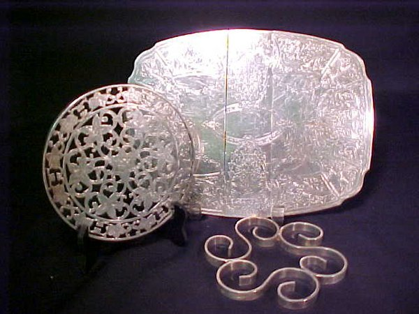 395: STERLING SILVER OVERLAY TRIVET + OTHERS