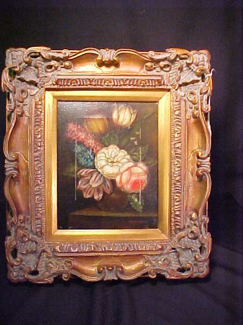 400: ORNATE SMALL DUTCH STYLE OIL PAINTING Fr