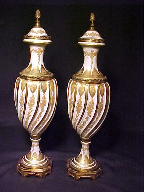 401: PAIR FRENCH PORCELAIN GILT PAINTED URNS