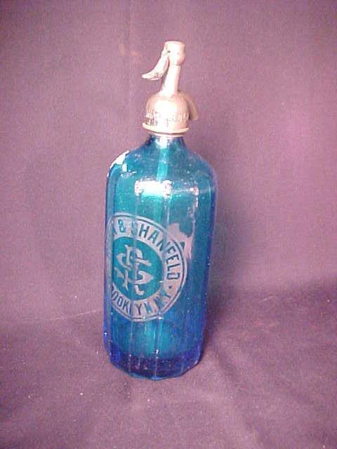 405: ANTIQUE BLUE GLASS SELTZER BOTTLE RUBIN
