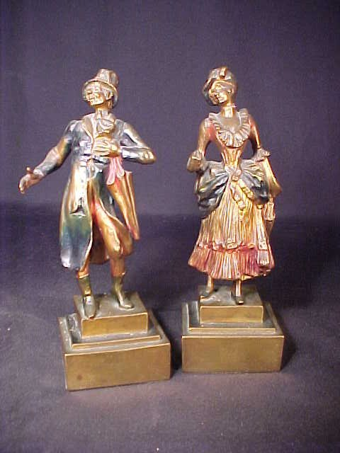 406: PAIR COLD PAINTED METAL VICTORIAN FIGURE