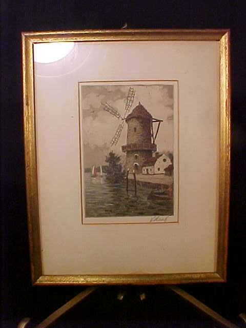 410: HAND COLORED ANTIQUE ENGRAVING WINDMILL
