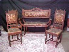 602: 1880'S ITALIAN LEATHER BENCH & 4 CHAIRS